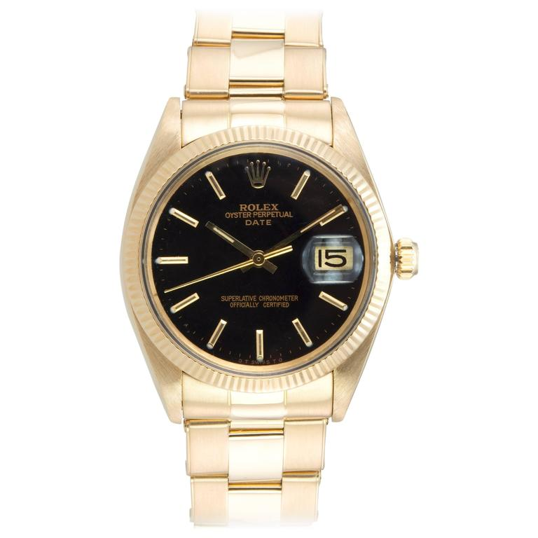Rolex Yellow Gold Date Custom Black Dial Wristwatch Ref 1503    1