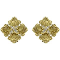 Diamond Gold Cross Earrings