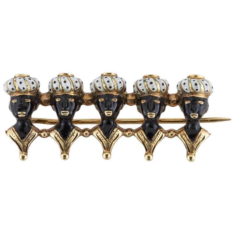 Antique Five Blackamoor Enamel Gold Pin