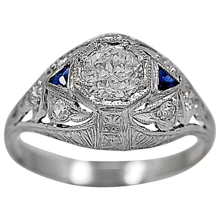 Art Deco .53 Carat Diamond Sapphire Platinum Engagement Ring