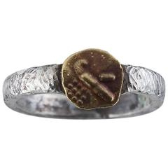 Stamped Gold Coin and Sterling Silver Ring