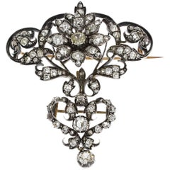 19th Century Victorian Two-Piece Diamond Silver Gold Brooch