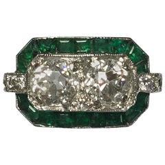 1910s Art Deco French Emerald Diamonds Platinum Ring