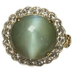 Victorian Chrysoberyl Diamonds Gold Ring