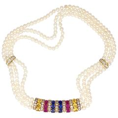 Van Cleef & Arpels Pearl Sapphire Diamond Gold Choker Necklace
