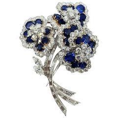 Vourakis Sapphire Diamond Platinum Brooch