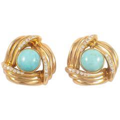 Turquoise Diamond Gold Earrings