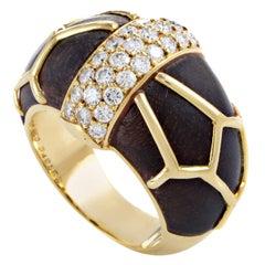 Boucheron Diamond Wood Gold Band Ring