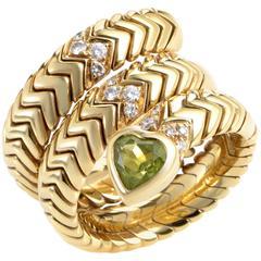 Bulgari Spiga Peridot Diamond Gold Ring