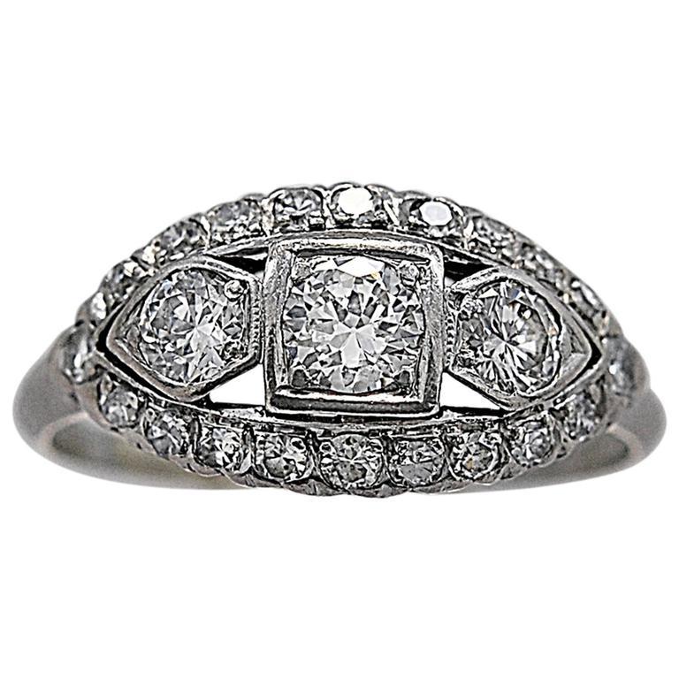 Art Deco Diamond Platinum Three Stone Engagement Ring
