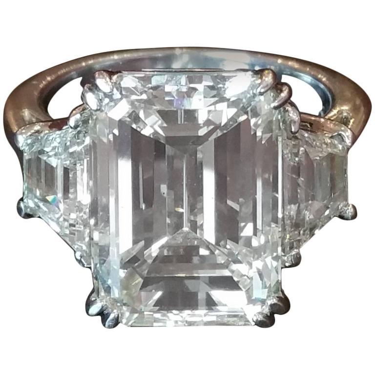 10 02 Carat GIA Cert Center Emerald Cut Three stone Diamond Platinum Ring For