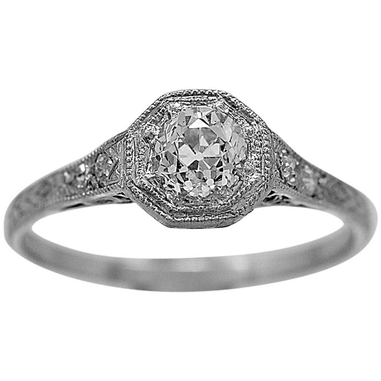 Art Deco .55 Carat Diamond Platinum Engagement Ring