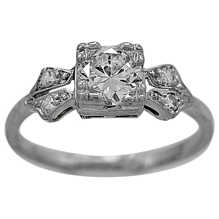 Art Deco .65 Carat Diamond Platinum Engagement Ring