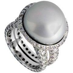 Colleen B. Rosenblat Keshi Pearl Diamond Gold Ring