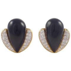 Onyx Diamond Gold Clip Earrings