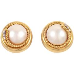 Tiffany & Co. Mother of Pearl Diamond Gold Clip Earrings
