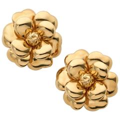 Chanel Gold Camellia Earclips