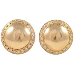 Diamond Gold Dome Clip Earrings