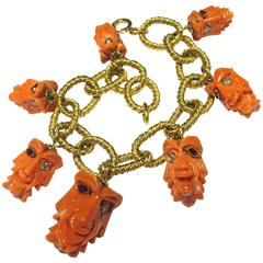 Carved Coral Ruby Diamond Faces Large Gold Link Bracelet