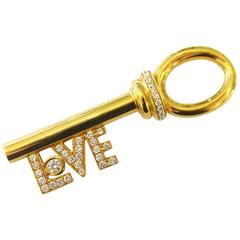 "Rare Aldo Cipullo Diamond ""Love"" Key Motif Gold Pendant Charm"