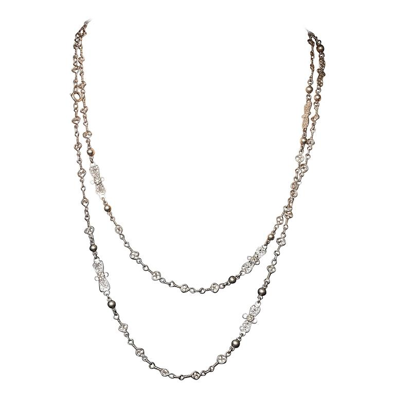 1900 Silver Filigree Chain Necklace