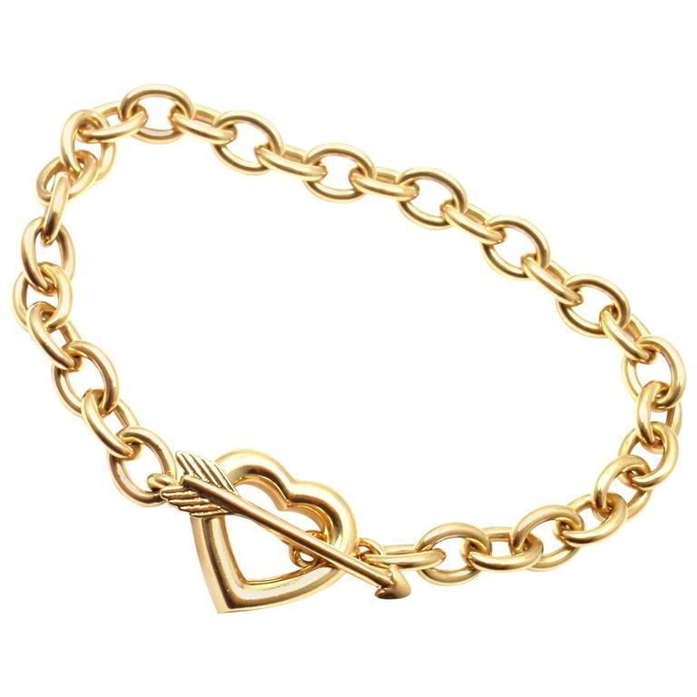 Tiffany & Co. Heart And Arrow Link Toggle Gold Bracelet