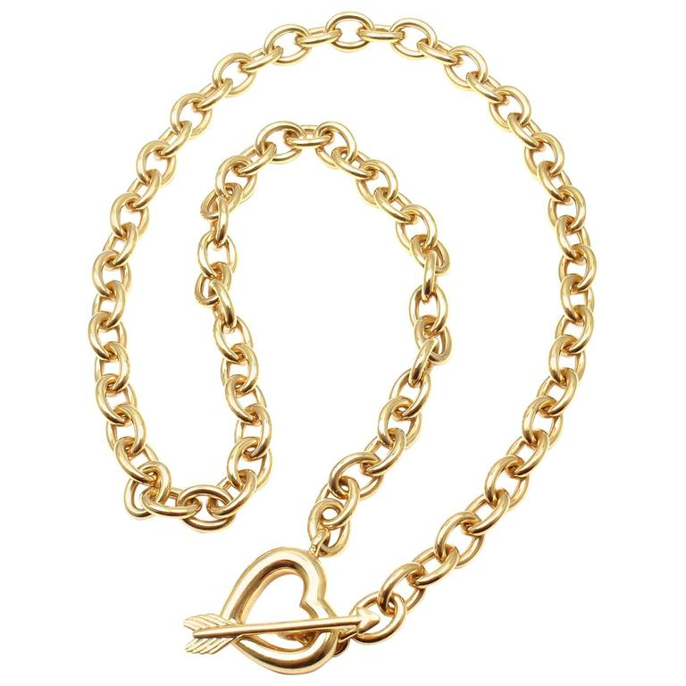 Tiffany & Co. Heart And Arrow Link Toggle Gold Necklace 1