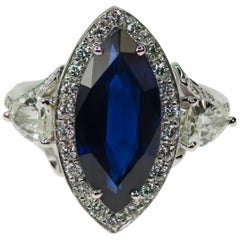 6.18 Carat Marquise Cut Sapphire Diamond Platinum Ring