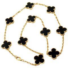 Van Cleef & Arpels Vintage Alhambra Onyx Gold 10 Motif Necklace