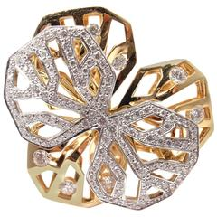 Cartier Caresse D'Orchidees Diamond Two Color Gold Flower Ring