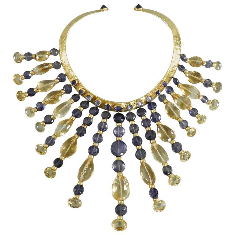 Eileen Coyne Tourmaline Hammered Gold Fringe Necklace For Sale