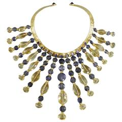 Eileen Coyne Tourmaline Hammered Gold Fringe Necklace