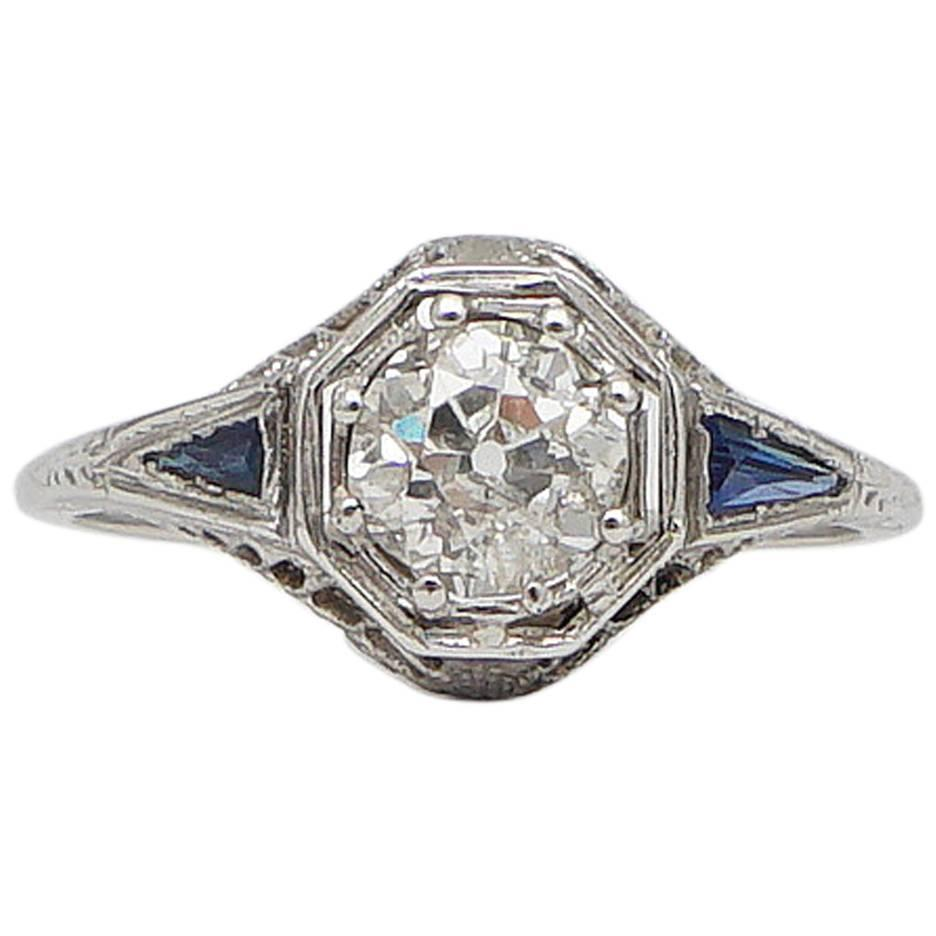 Art Deco 1 15 Carat Diamond French Cut Sapphire Gold Filigree Engagement Ring