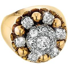 1950s French Diamond Gold Ring