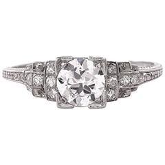 Antique Art Deco Diamond Platinum Engagement Ring