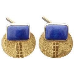 1960s 1970s Modernist Lapis Lazuli Gold Cufflinks
