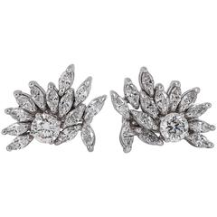 1950s Marquise and Brilliant Cut Diamond Gold Earrings