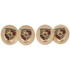Porsche Pair of Enamel Gold  Motor Car Cufflinks of heavy quality