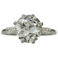 4.54 Carat GIA Cert Old European Cut Diamond Platinum Engagement RIng