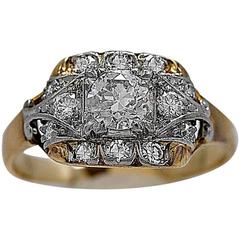 Art Deco .40 Carat Diamond Gold Platinum Engagement Ring