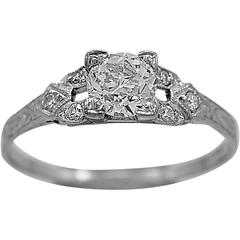 Art Deco .52 Carat Diamond Platinum Engagement Ring