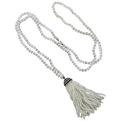 Ivanka Trump Crystal Onyx Diamond Gold Tassel Necklace