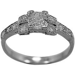 Art Deco .58 Carat Diamond Platinum Engagement Ring