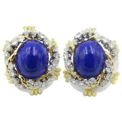 David Webb White Enamel Lapis Lazuli Diamond Gold Earrings