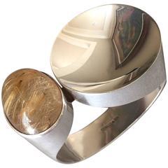 Kaunis Koru Rutilated Quartz Sterling Silver Bracelet by Olavi L. Wehmersuo