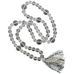 Impressive Ivanka Trump Crystal Pearl Diamond Gold Tassel Necklace