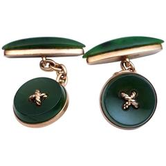 Faberge Antique Russian Carved Nephrite Jade Gold Cufflinks