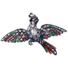 Antique Georgian Enamel Diamond Silver Gold Bird Of Paradise Brooch