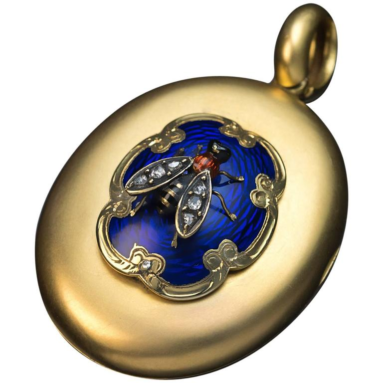 Antique Victorian Enamel Diamond Gold Novelty Locket Pendant