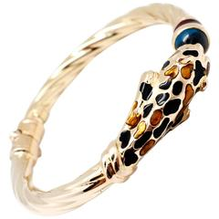 Faro Blue Topaz Gold Panther Bangle Bracelet